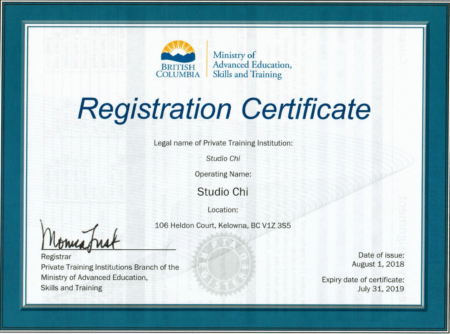 Registered Certificate